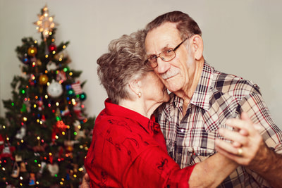 Loving grandparents dancing, after retouch