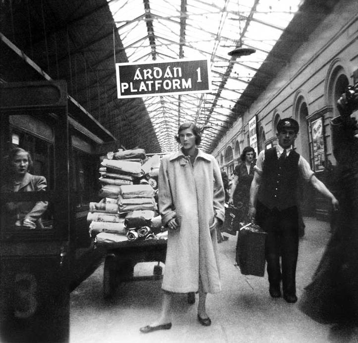 Restored Black and white photo of people in 1950 Dublin Connolly train station after restoration by katphotomagic.com